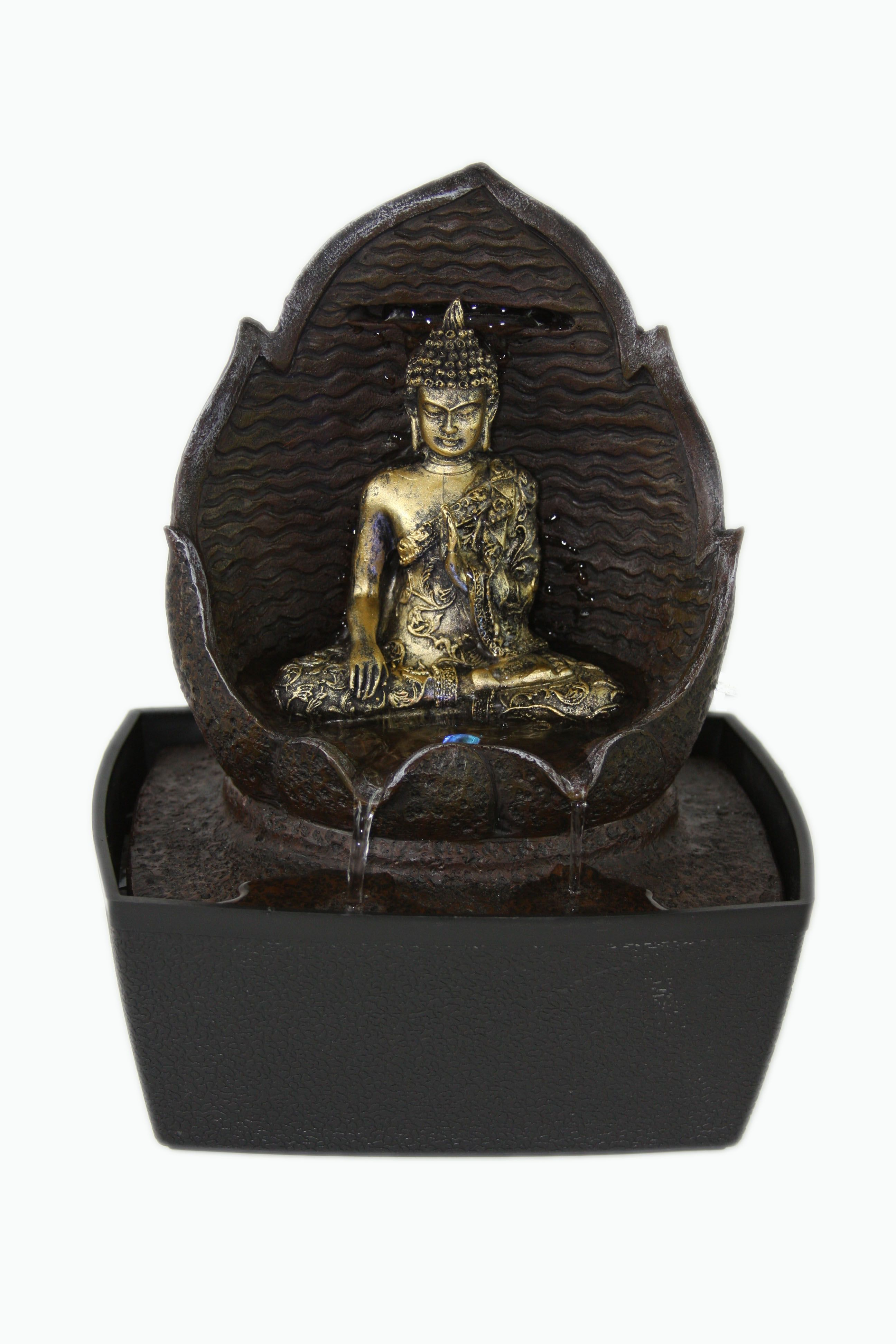 Buddha Indoor Tabletop Water Fountain Lotus Flower LED Light Feng ...