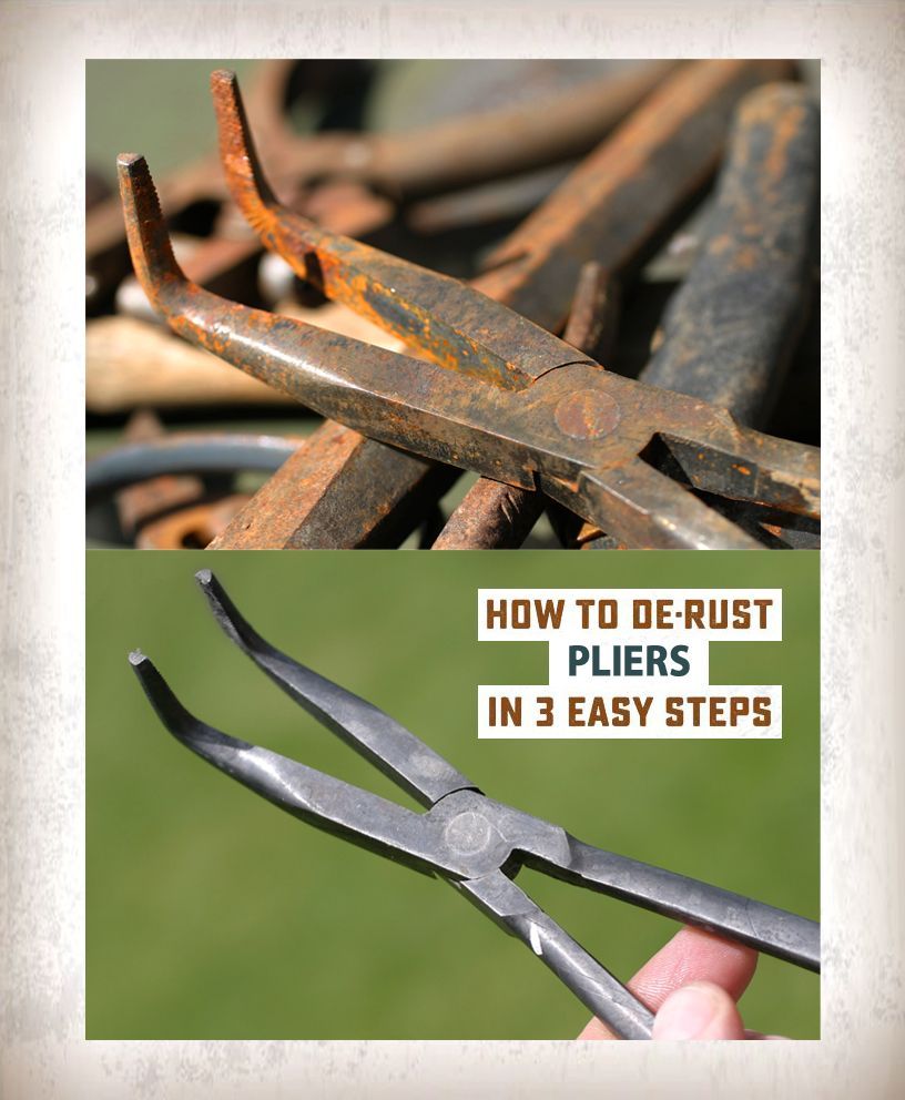 How To Remove Rust From Pliers In Three Easy Steps Using Metal Rescue Rust Remover Bath Rust How To Remove Rust How To Clean Rust