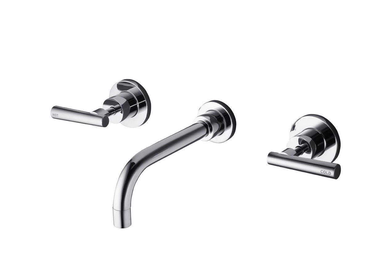 The milli glance wall basin mixer set is captivating from the first - Modern Design Combining Straight Lines And Bold Curves The Dorf Capella Wall Basin Set Embodies A Soft Minimalism To Suit Almost Any Bathroom Space