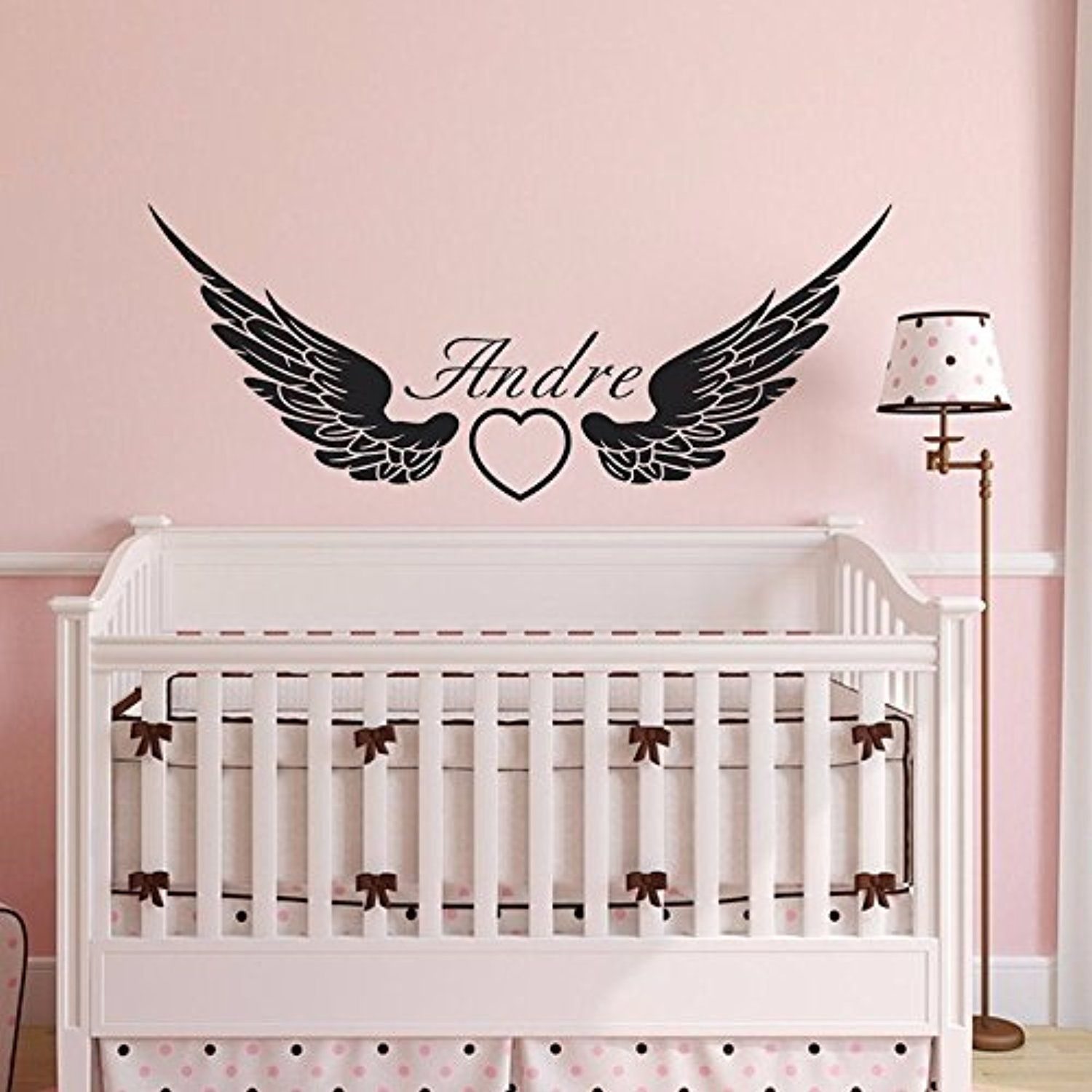 Beautiful Custommade Personalised Name Angel Wing Vinyl Wall - Custom made vinyl wall decals