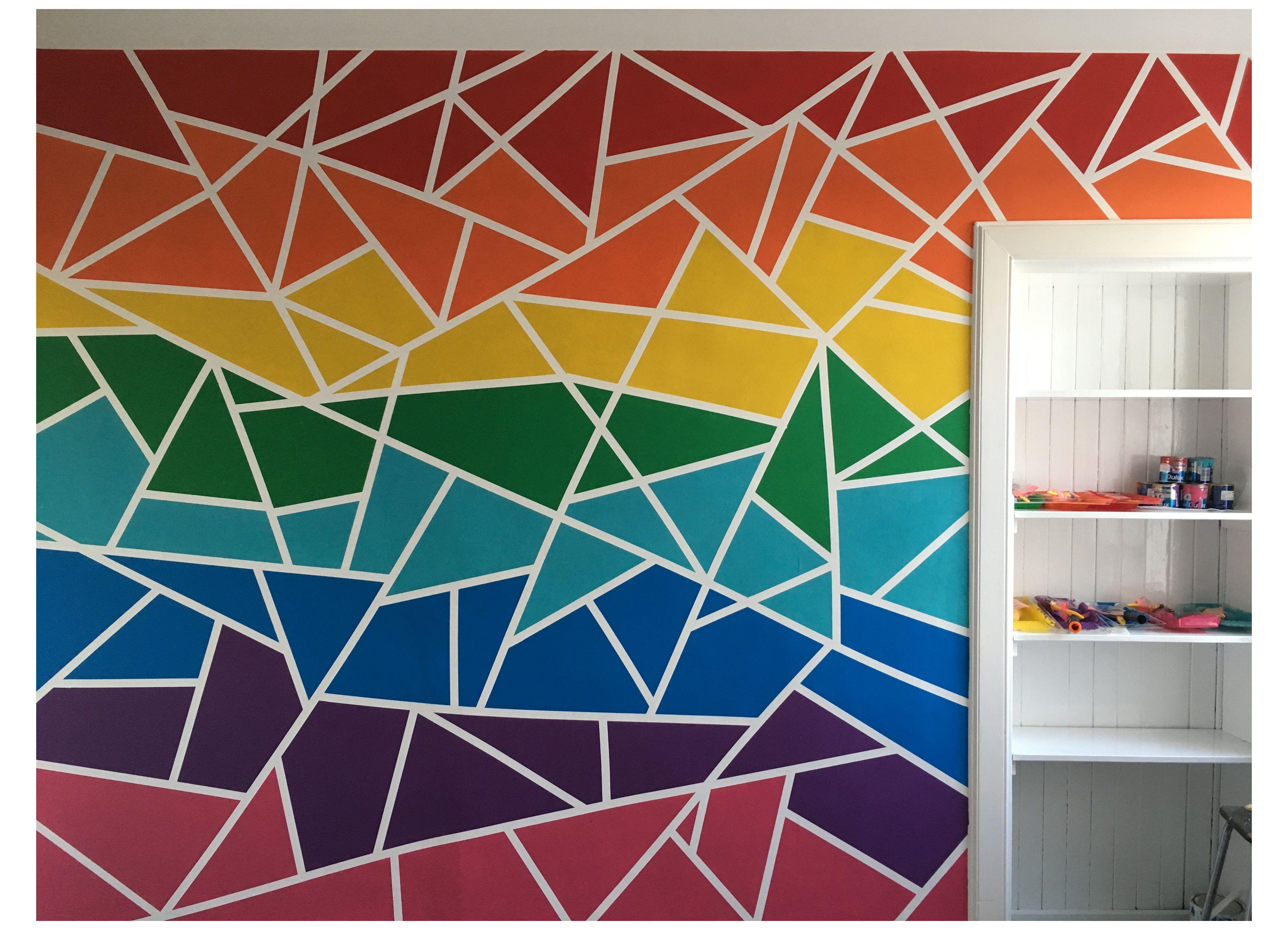 Geometric Wall Paint Rainbow Geometricwallpaintrainbow Rainbow Geometric Wall In 2021 Diy Wall Painting Kids Room Wall Art Wall Paint Designs