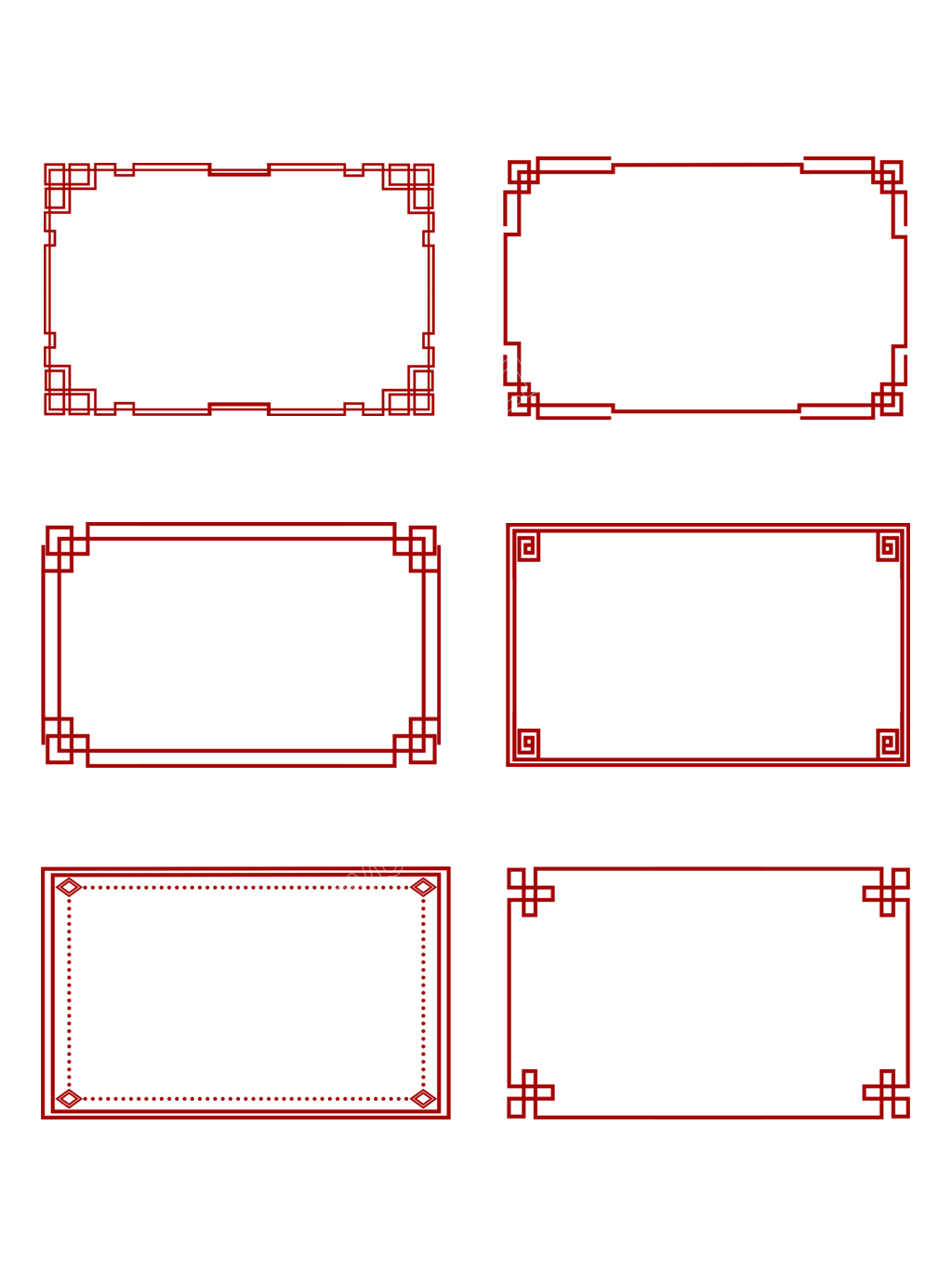 Simple Elegant Chinese Style Creative Classical Red Chinese Border Commercial Png And Psd File Motif Art Deco