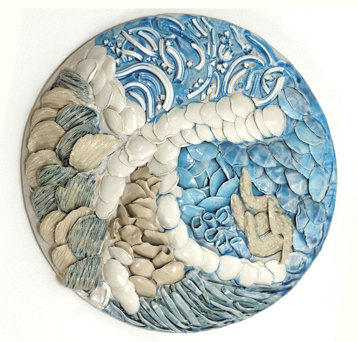 Belginus porcelain wall sculptureroundd wall artcontemporary