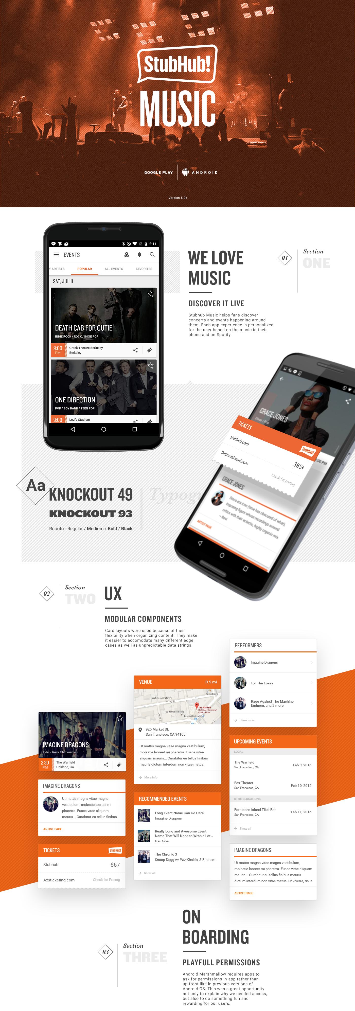 Stubhub Music for Android on Behance Stubhub, App design
