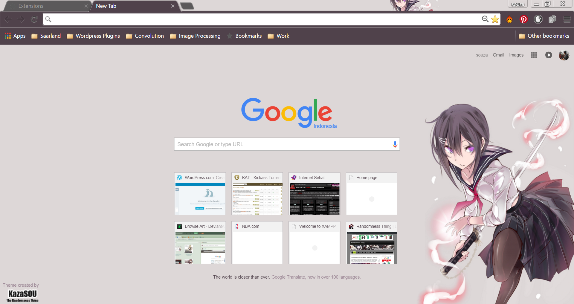 Google themes nba - You Know I Like Girls Wielding Weapons And I M Happy To Present You Another Google Chrome Themesthe