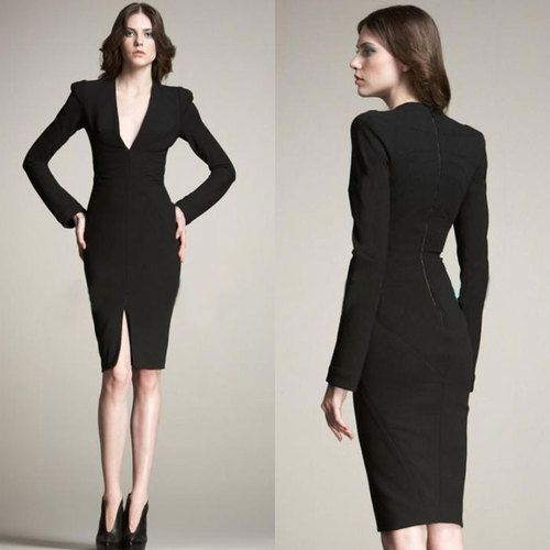 Hot Women Black Long Sleeve Deep V Neck Sexy Tight Slim Ol Dress