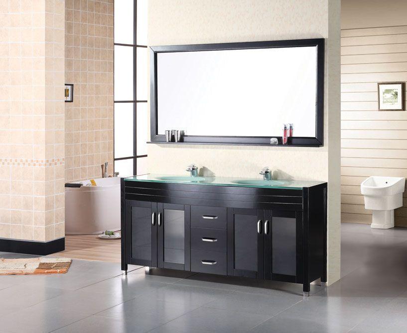 Design Element Dec016A Waterfall 60 Inch Double Sink Vanity Set In Classy Design Element Bathroom Vanity 2018