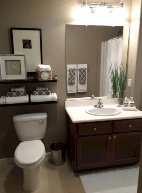 26 Best Bathroom Mirror Ideas For A Small Bathroom Bathroom Shelf Decor Brown Bathroom Decor Guest Bathrooms