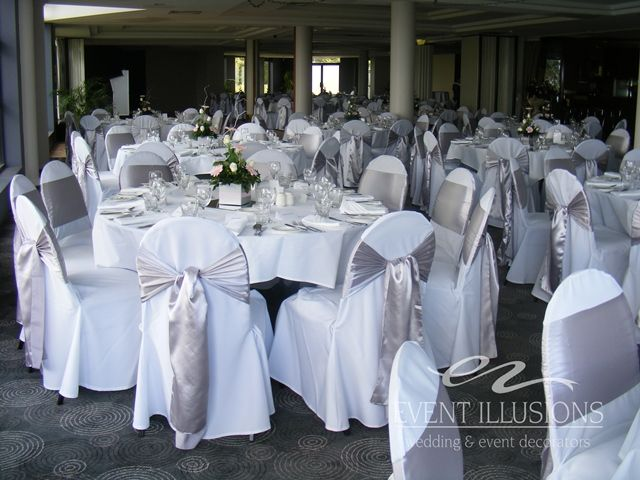 Phenomenal White Chair Covers With Silver Sashes Used At Mandy And Machost Co Dining Chair Design Ideas Machostcouk