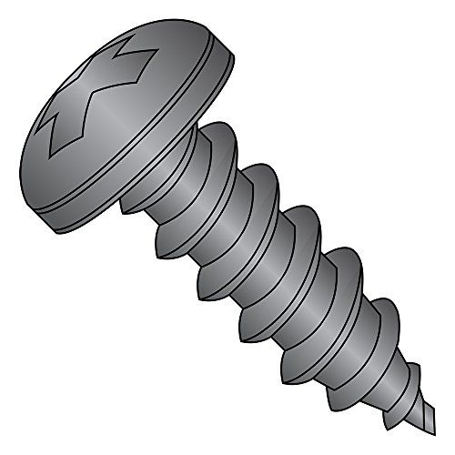 18 8 Stainless Steel Sheet Metal Screw Black Oxide Finish Pan Head Phillips Drive Type A 14 10 Thread Size 3 4 Quot Length Pack Of 10