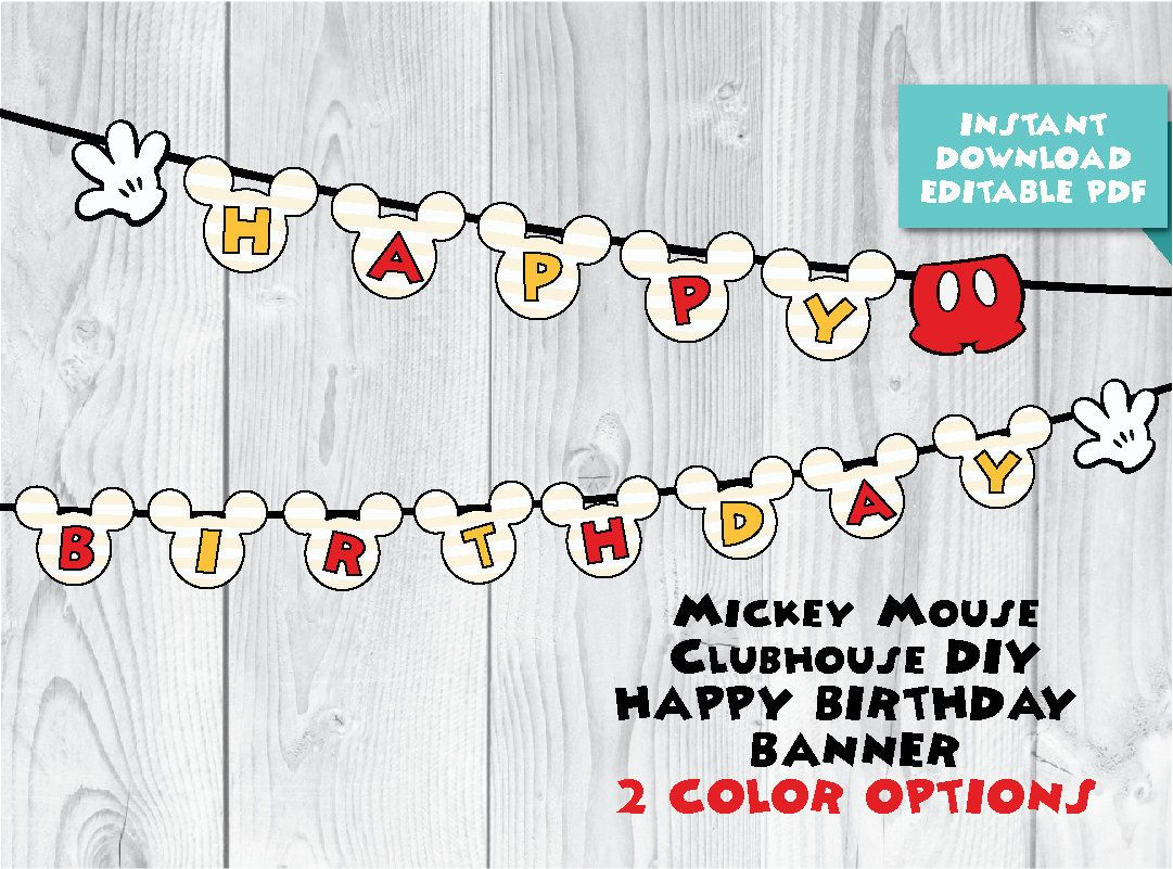 diy mickey mouse clubhouse oh two dles red and yellow birthday party