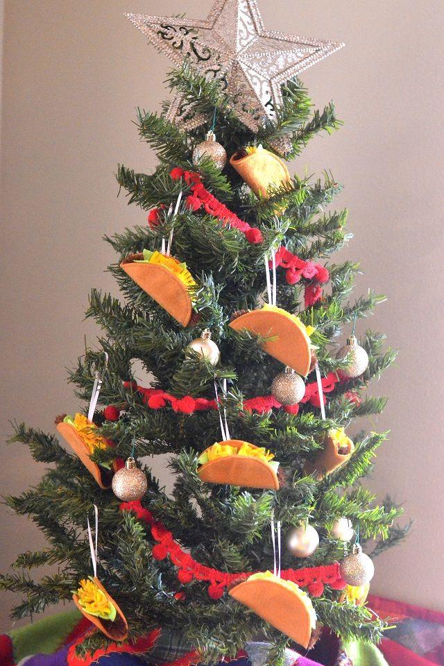 Felt Taco Christmas Ornament Tutorial Orange Bettie Diy Christmas Tree Ornaments Potted Christmas Trees Minimalist Christmas