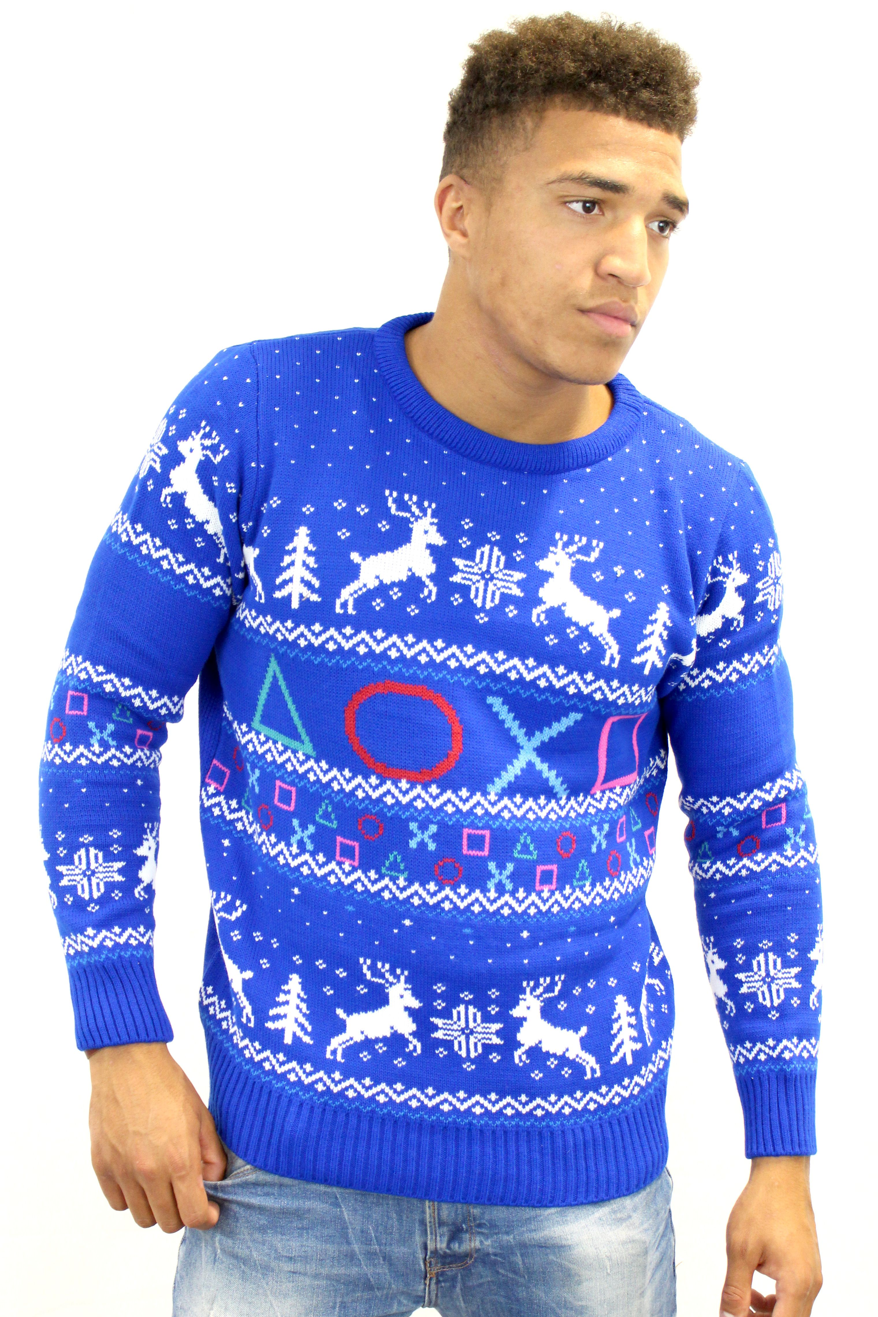 Official PlayStation Symbols Christmas Jumper | Jumpers | Yellow ...