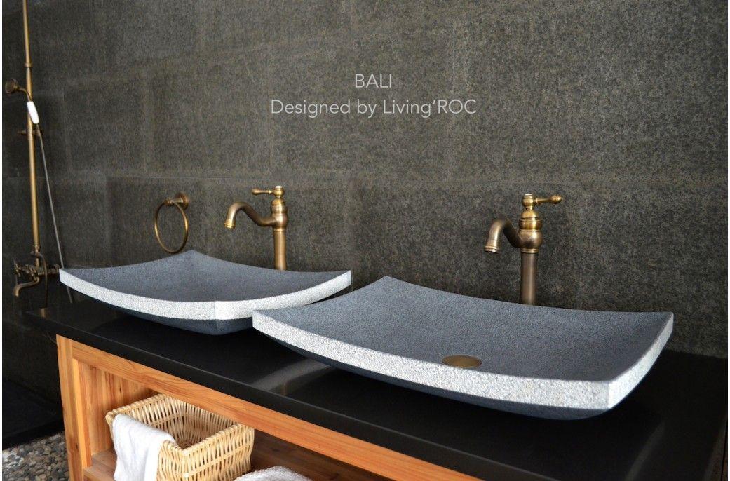 Gray Granite Stone Bathroom Vessel Sink