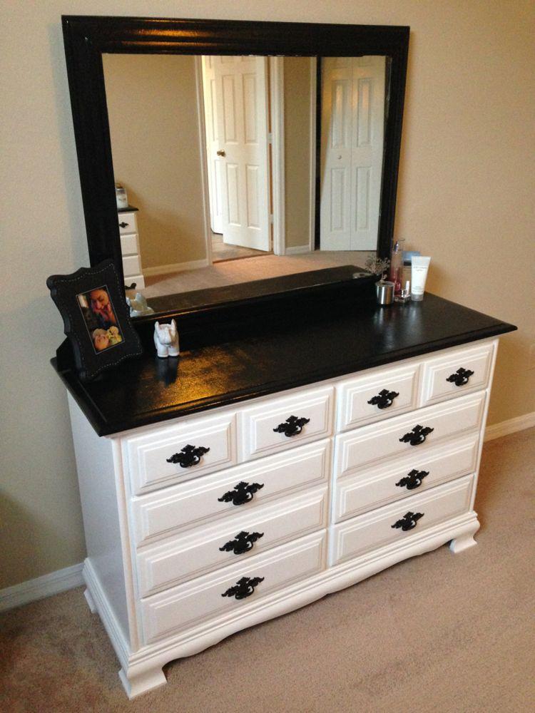 Diy black and white dresser makeover black white