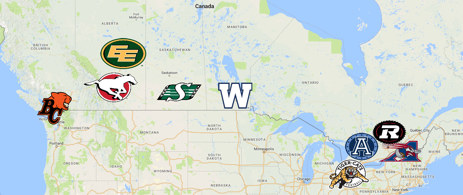 Map of Canadian Football League (CFL) Teams  caf084fde