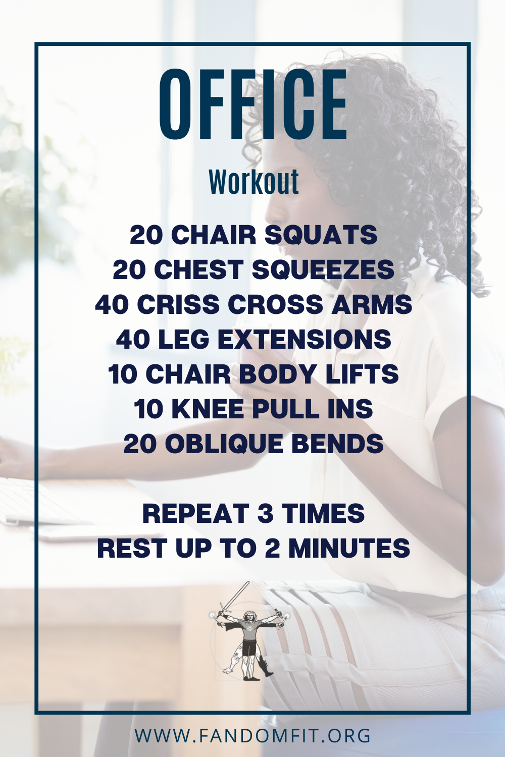 Try out this fitness routine to do in the workplace at the office to get into shape. FandomFit | Fit...