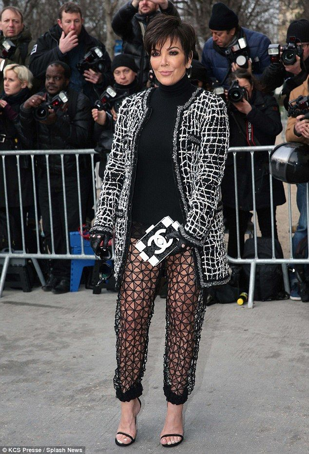 dd889fcb4ad Kris Jenner teams sheer trousers with a strategically placed Chanel  clutch... only for Karl Lagerfeld to swipe it