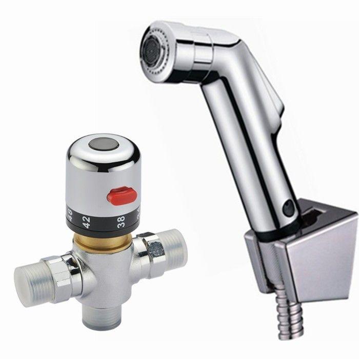 2 Function Handheld Bidet Sprayer Kit Set Thermostatic Mixer Valve