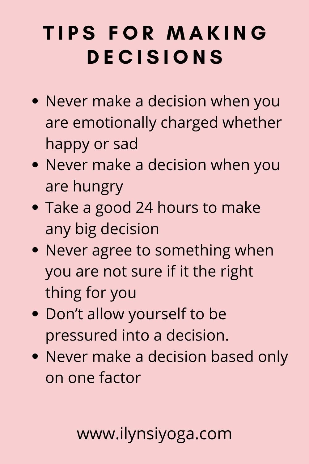 Tips for Making Decisions
