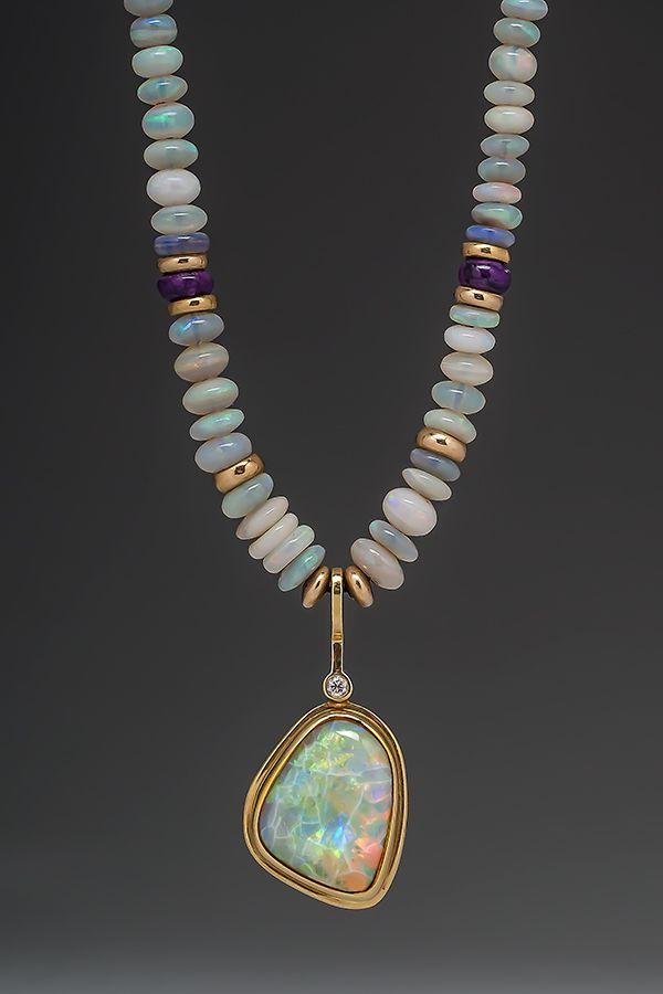 Opal pendant necklace #OpalPendants #OpalJewelry