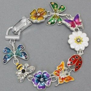 Silver Tone Colorful Butterfly Dragonfly Lady Bug Magnetic Clasp Charm Bracelet Elegant Trendy Fashion Jewelry