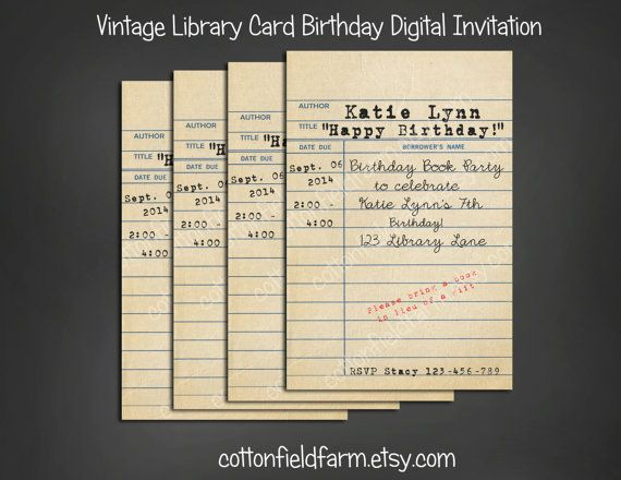 Vintage Library Card Birthday Book Party Invitation Personalized - download invitation card