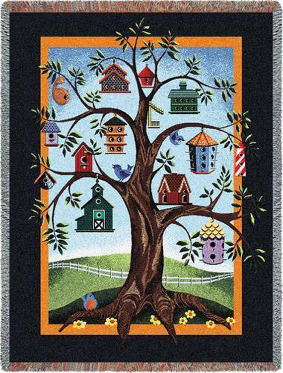 This delightful personalized Family Tree Blanket of a tree with a ... : birdhouse quilts - Adamdwight.com
