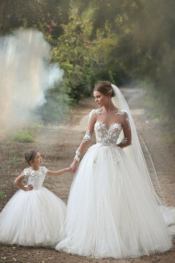 white longsleeve bridal dress with matcjing flower girl - brides of ...