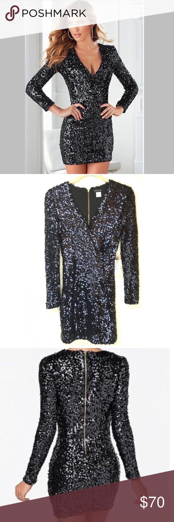 357b97b45cd4 Spotted while shopping on Poshmark: Long Sleeve V Neck Black Sequin Dress!  #poshmark #fashion #shopping #style #VENUS #Dresses & Skirts
