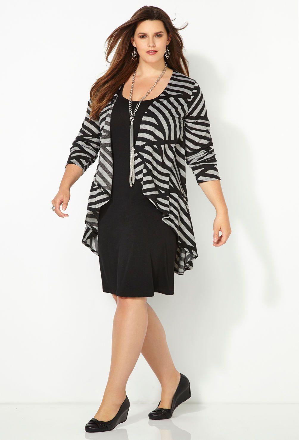 Grey Striped Jacket Dress Plus Size Jacket Dress Avenue Plus Size Outfits Plus Size Fashion Fashion [ 1476 x 1004 Pixel ]