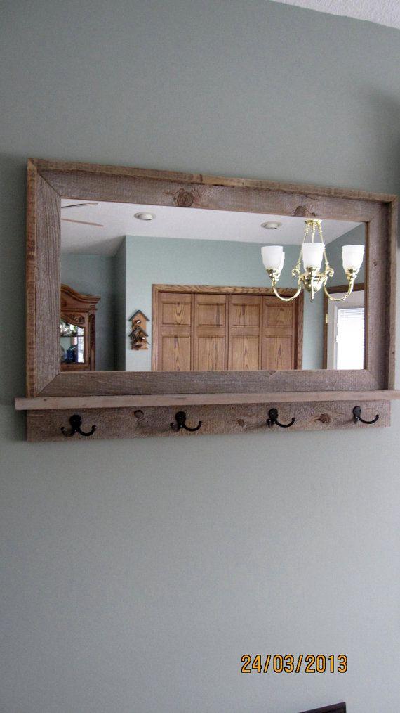 Barnwood Window Mirror With Shelf Hooks By Mikesbarnwooddecor 85 00 Bathroom Shelf Decor Home Shelves