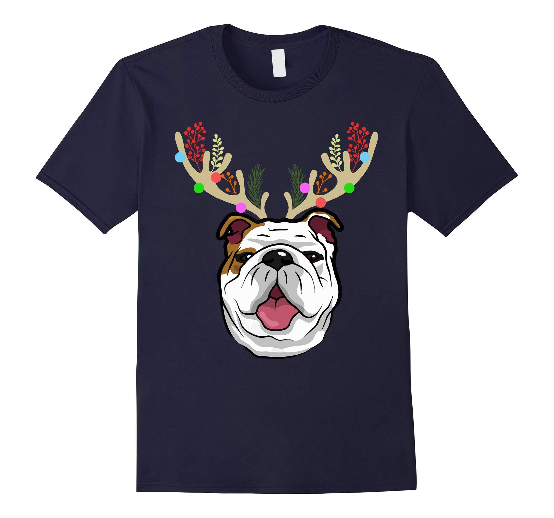 XMAS Funny Bulldogs Antlers Christmas-Veotee #funnybulldog