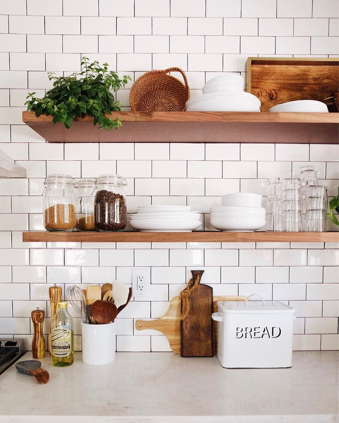 Open Shelving Using Ikea Butcher Block Countertops Kitchen Remodel Layout Kitchen Remodeling Projects Kitchen Remodel Small