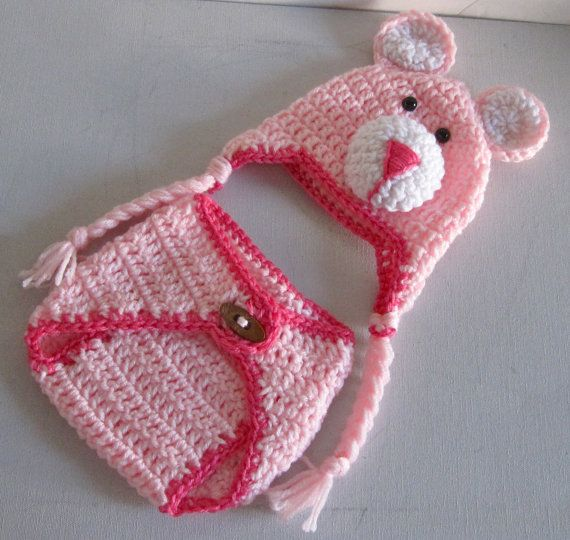 Baby Hat and Diaper Cover Pink Little Teddy by DosCraftySisters ...