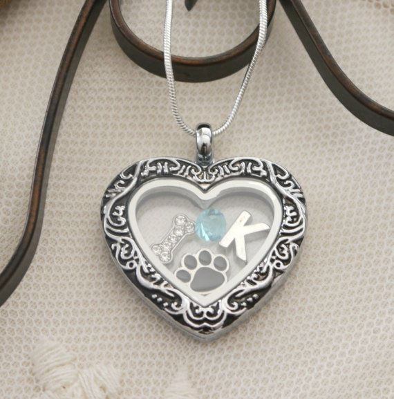 Dog Locket, Dog Heart Locket, Personalized Dog Necklace, Dog Heart Necklace, Dog Paw Necklace, Letter Birthstone, Dog Lover Gifts, Custom