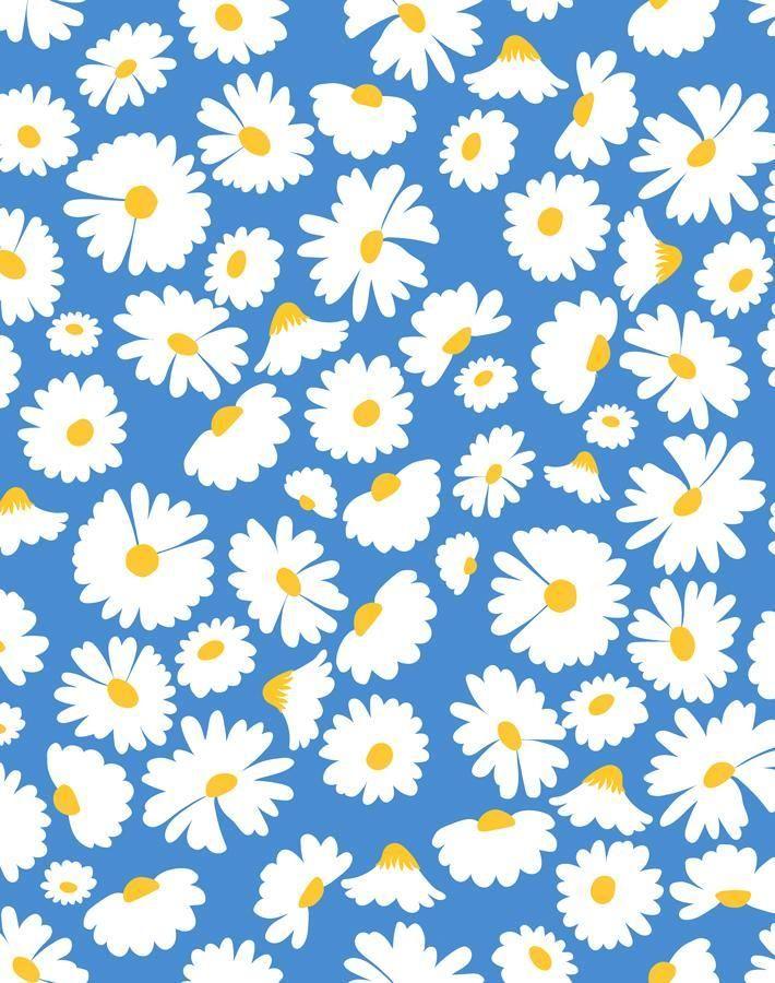 'Pop Daisy' Wallpaper by Wallshoppe - Cerulean - Removable Panel - Sample