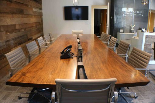 Custom Made Wood Slab Conference Table Large Dining Room
