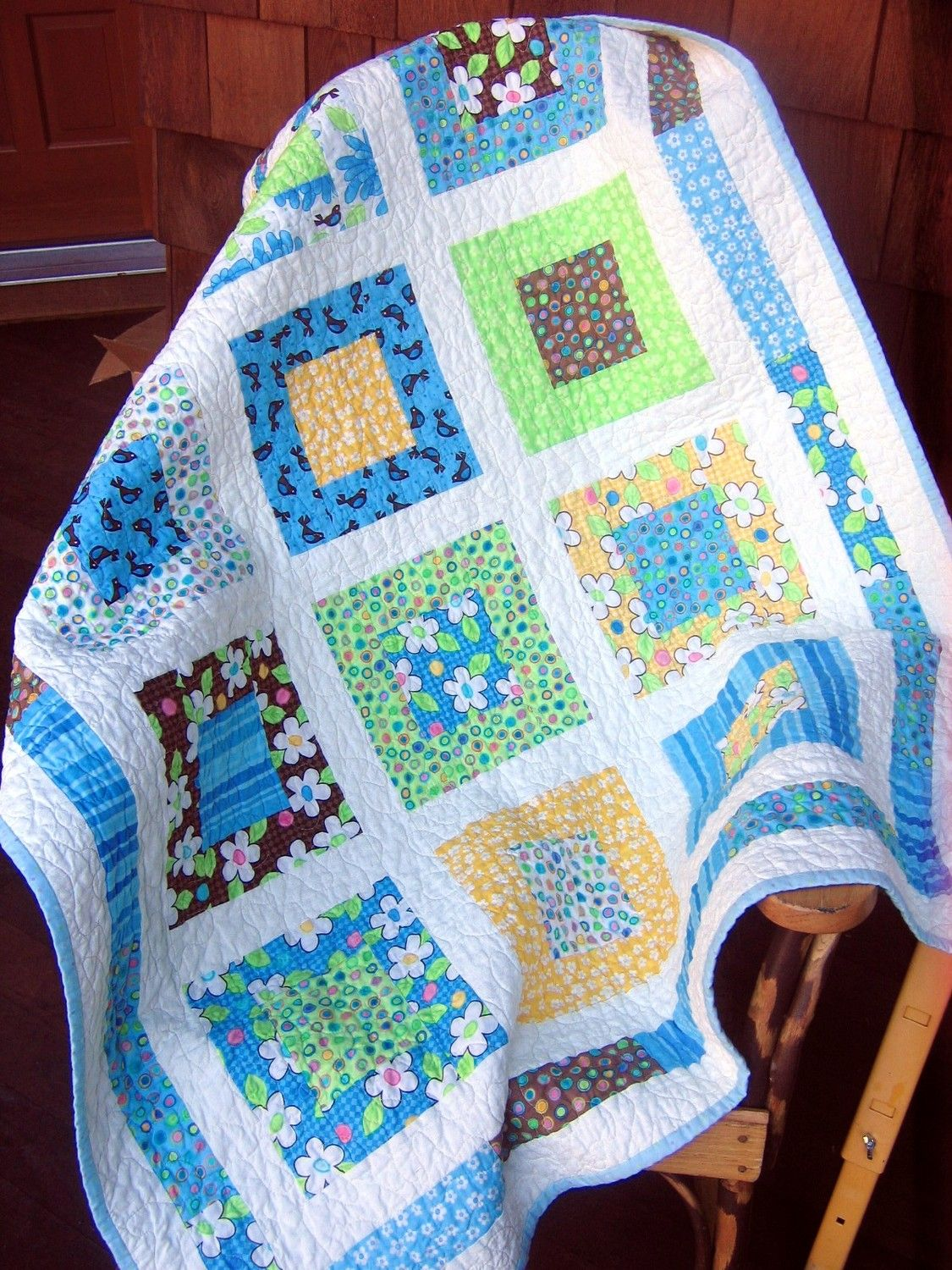 Moda BIRDIE Baby BOY or Toddler Crib Quilt ...pattern also