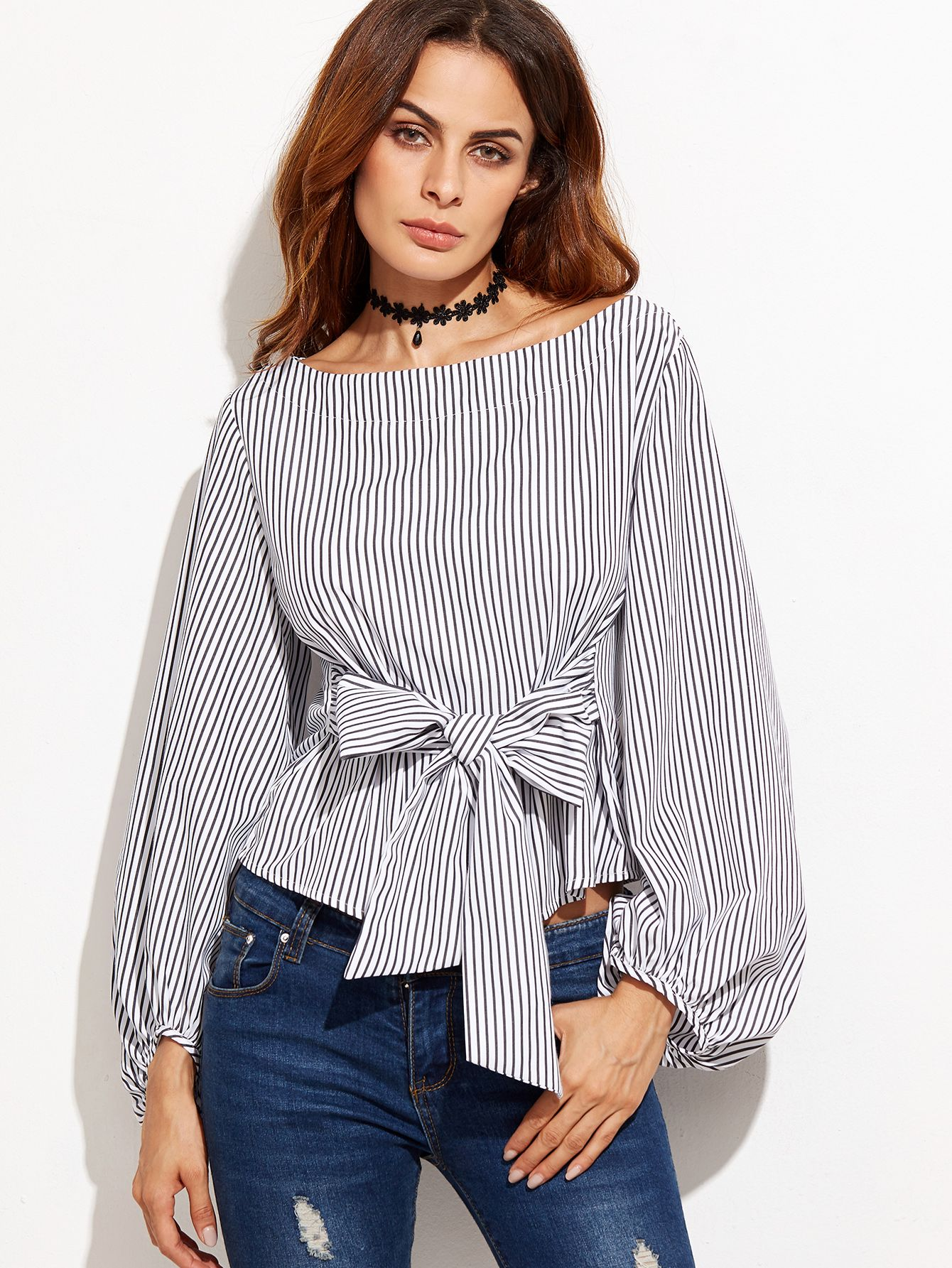 8caee69958b2 Bow Belted Front Exaggerated Lantern Sleeve Striped Top -SheIn ...