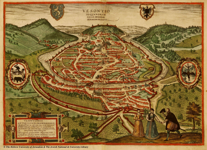 Map of Becancon century Besanon France 1572