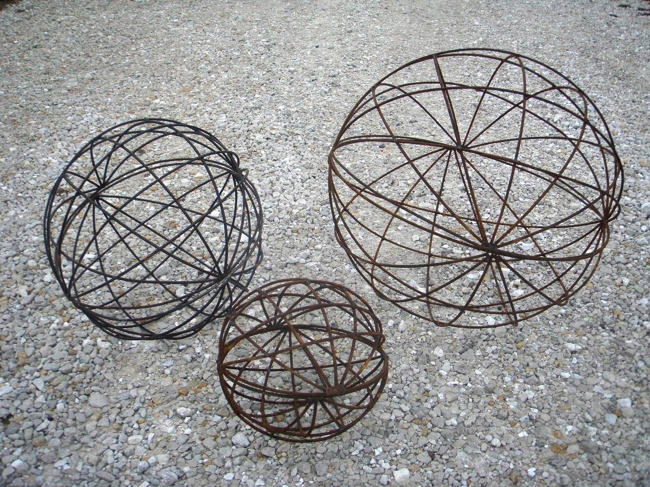 Wrought Iron Garden Art Balls Spheres In Many Sizes Topiaries