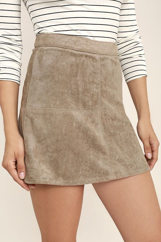 Slip into the Rhythm Runaway Taupe Suede Mini Skirt when you yearn for a  quick little