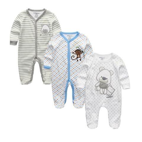 2869f838d525 2018 Unisex 2 3pcs lot Baby Rompers 0-12M Pajamas Newborn Clothing ...