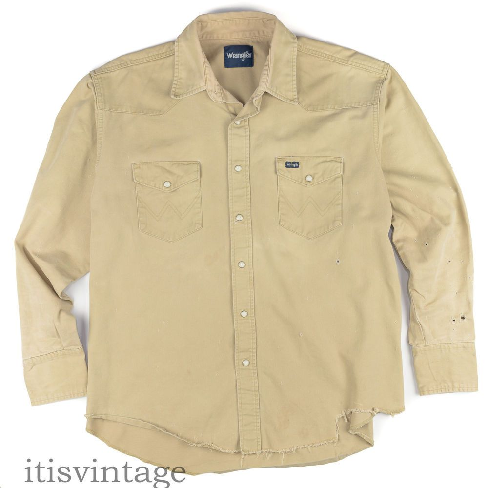 f95b9d40a45 Wrangler Shirt Vintage Work Wear Destroyed Distressed Ripped Pearl Snap  Twill XL  Wrangler  Western  itisvintage