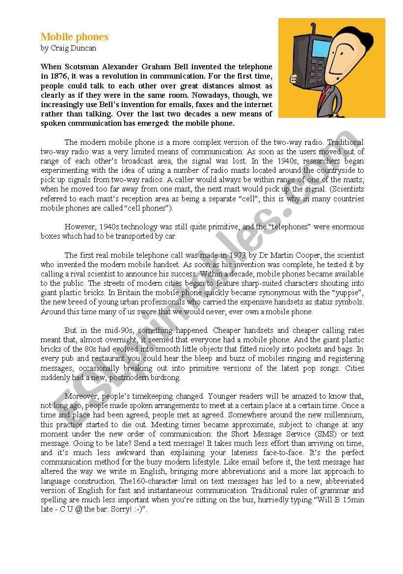 Reading Comprehension - Mobile phones | Английский язык