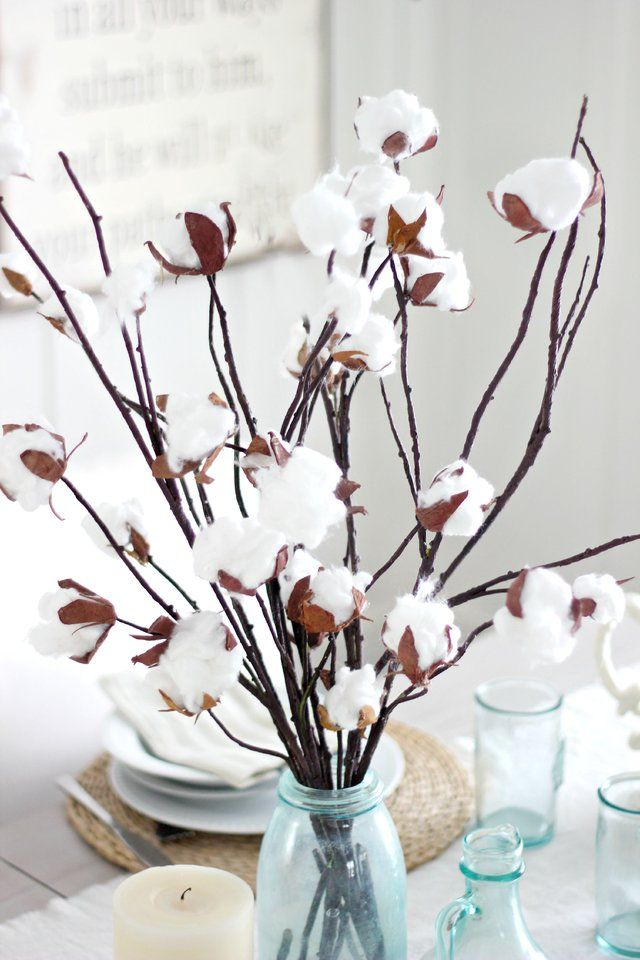 how to make a faux cotton branch centerpiece best of pinterest rh pinterest com
