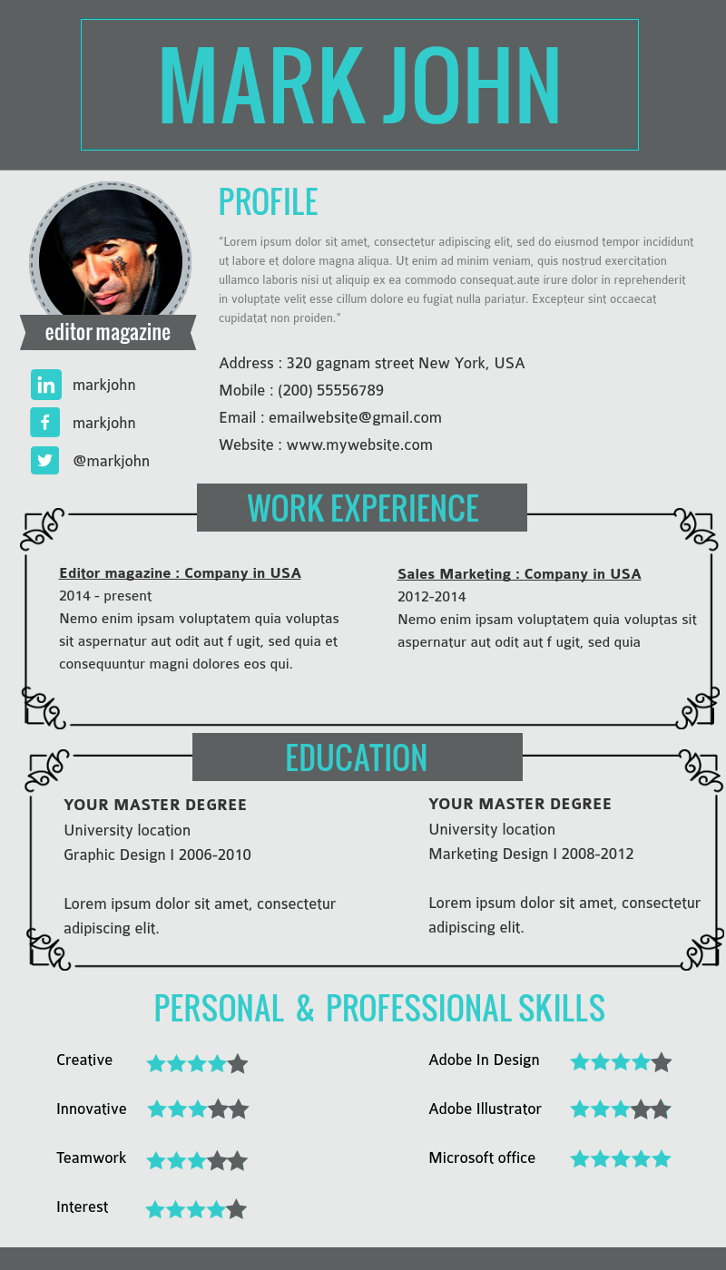 Visual Resume Templates For Editors Customize This Template In