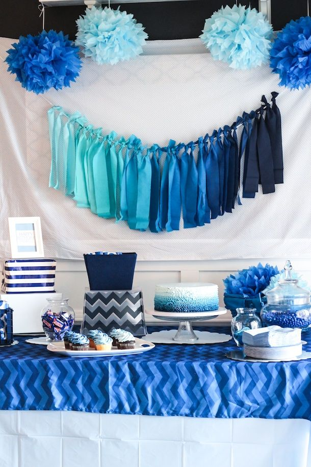 Blue Ombre Birthday Party Baby Boy Birthday Baby Boy