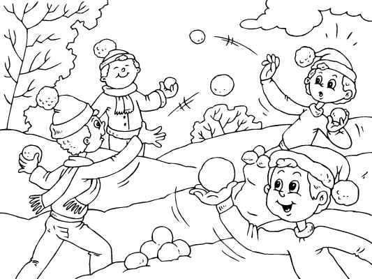Snowball Fight Coloring Page